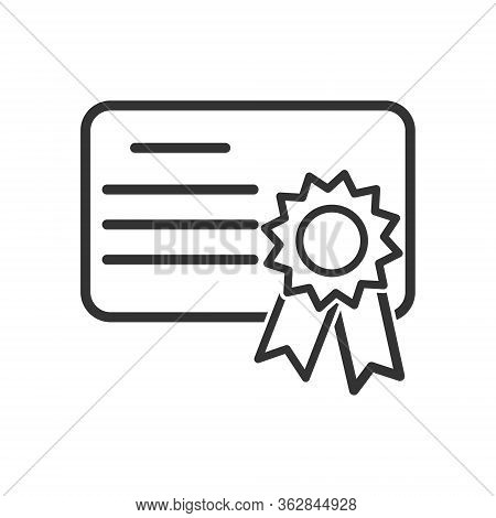 Simple Icon Of A Diploma Or Certificate. Simple Stock Design Isolated On A White Background For Webs