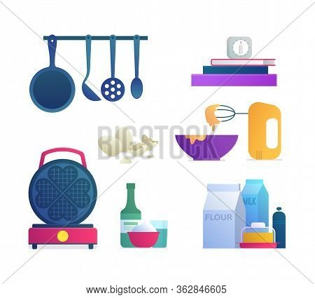 Kitchen Tools Isolated Icons Set. Blender With Bowl, Waffle Iron, Food Ingredients, Kitchen Utensils