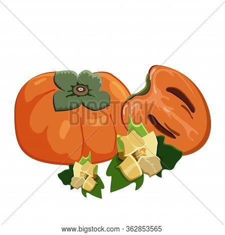 Set Of Persimmons Fruit On White Background. Ripe Fresh Juice Persimmon, Sliced Fruit And Persimmons