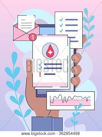 Online Diagnosis And Digital Medicine. Your Checkup Test Results On Smartphone
