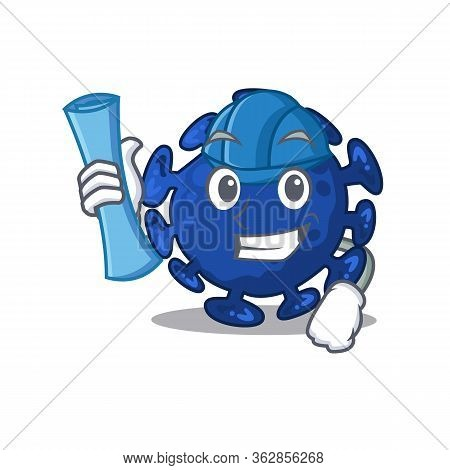 Cartoon Character Of Streptococcus Brainy Architect With Blue Prints And Blue Helmet