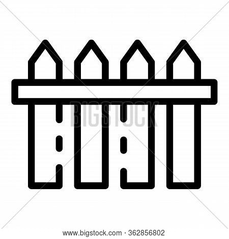 Farm Fence Icon. Outline Farm Fence Vector Icon For Web Design Isolated On White Background