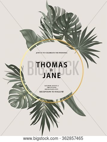 Tropical Vintage Safari Leaves With Gold Frame Isolateed Vector. Jungle Exotic Rainforest Palm Leave