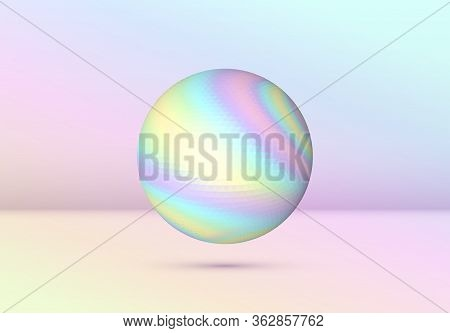 Vibrant Colored Vaporwave Styled Abstract Ball Shape With Holographic Texture On Violet And Pink Bac