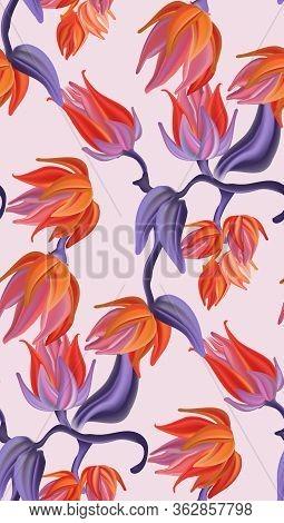 Flower Botanical Pattern, Contrast Orange Violet Nature Bloom Background. Spring Elegan Watercolor G