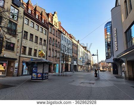 Nuremberg, Germany - January 01, 2020: Shopping Street Karolinenstrasse - View Towards Church St. Lo