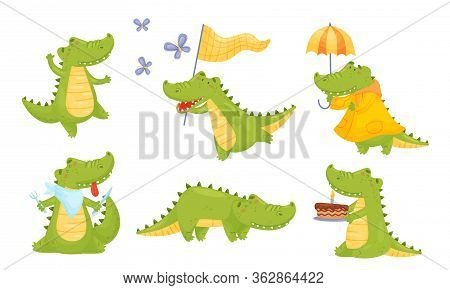 Toothy Friendly Crocodile Dancing And Walking With Umbrella Vector Set