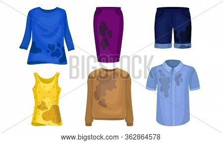 Dirty Laundry Or Clothes With Spots Of Mud Vector Set