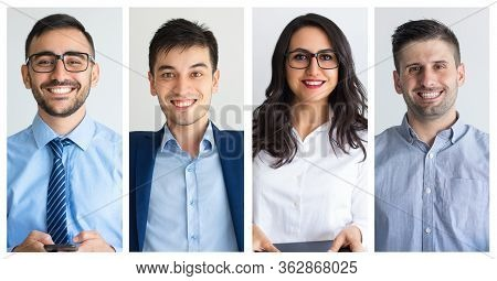 Positive Young Business Professionals Corporate Isolated Portrait Set. Smiling Attractive Men And Wo