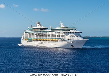 George Town, Grand Cayman Island, Uk - April 24, 2019: Cruise Ship Adventure Of The Seas Is Anchored