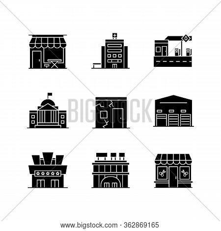 Urban Building Exteriors Black Glyph Icons Set On White Space. Cafe Exterior. Hospital Entrance. Sta