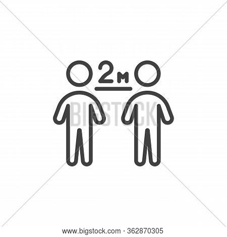 Keep The 2 Meter Distance Line Icon. Linear Style Sign For Mobile Concept And Web Design. Social Dis