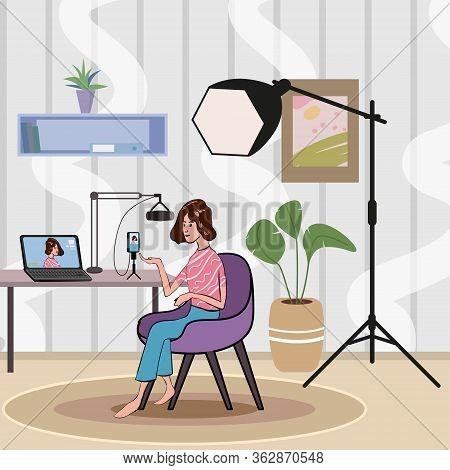 Girl Making Podcast Internet Digital Recording For Online Broadcasting Social Media Network Female B