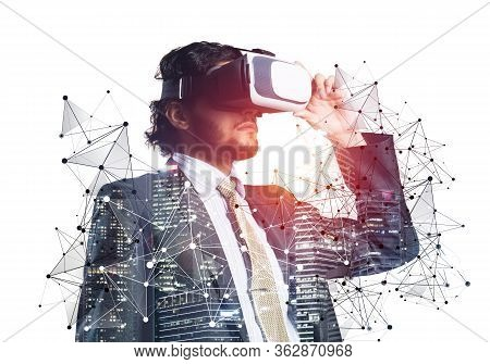 Businessman Wearing Vr Goggles And Exploring Virtual Reality. Man Standing And Touching Vr Headset.