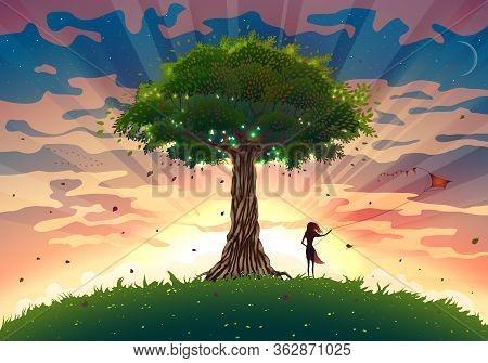 Fantasy Sunset Landscape With Tree And Girl Flying Kite, Summer Sunrise Illustration With Light Beam