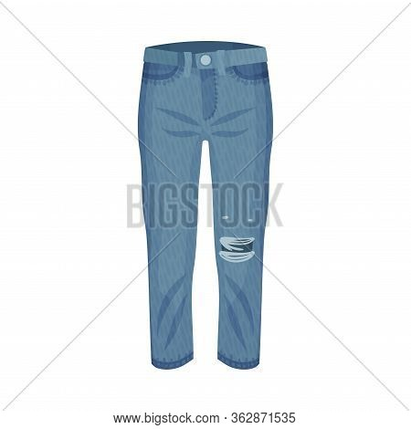 Denim Blue Ripped Pair Of Jeans With Side Pockets As Womenswear Vector Illustration