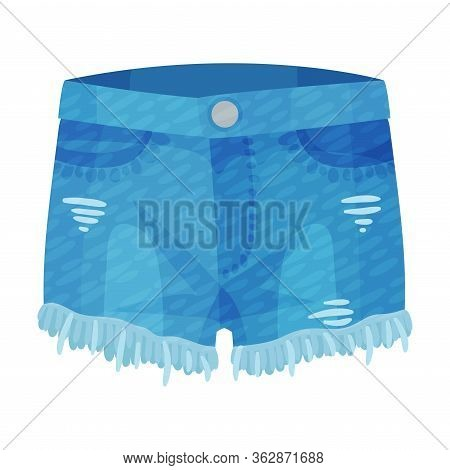 Denim Blue Ripped Shorts With Side Pockets And As Womenswear Vector Illustration