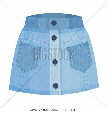 Denim Blue Straight Buttoned Skirt With Side Pockets As Womenswear Vector Illustration