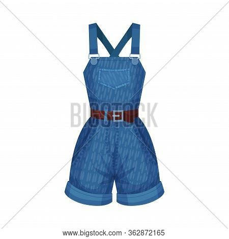 Denim Blue Shortalls Or Playsuit With Shoulder Straps And Side Pockets As Womenswear Vector Illustra