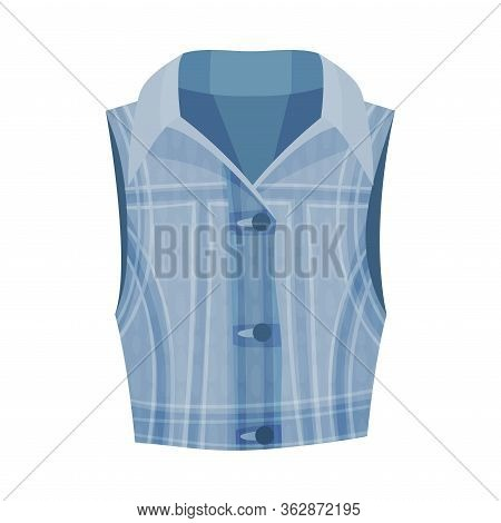 Denim Blue Buttoned Vest As Womenswear Vector Illustration
