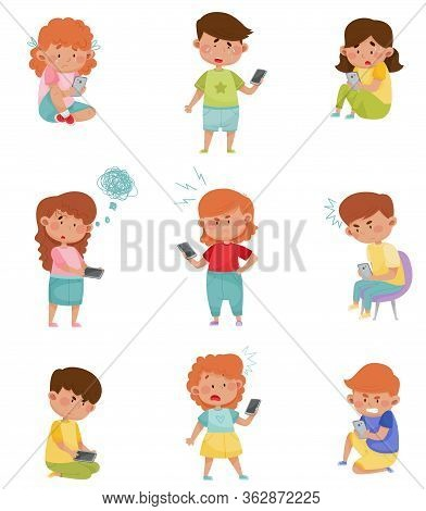 Little Kids With Smartphones And Frustrating Expression On Their Faces Vector Illustrations Set
