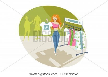Marijuana, Clothing, Shopping, Merchandise, Cannabis Concept. Young Happy Smiling Woman Girl Buying