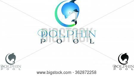 Dolphin Pool, A Virtual Reality Swimming Pool Place Logo Design Suitable For Swimming Pool, Dolphin