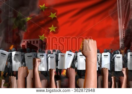 Revolt Fighting Concept - Protest In China On Flag Background, Police Officers Stand Against The Pro
