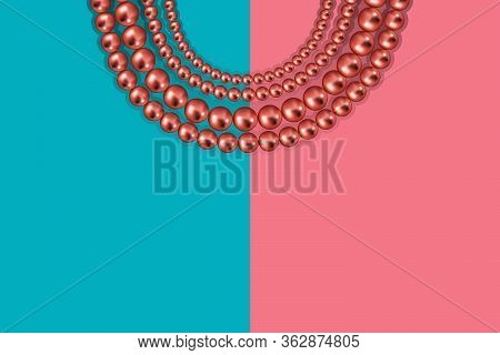 Pink Gold Beads On Duotone Pastel Pink Blue Background. Luxury Vector Backdrop With Copy Space
