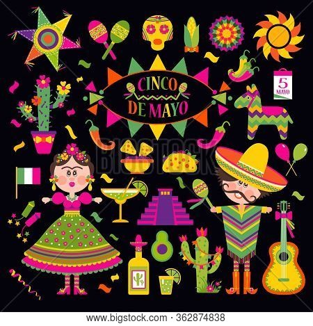 Cinco De Mayo Celebration In Mexico, Set, Design Icons.collection Objects For Cinco De Mayo Parade W