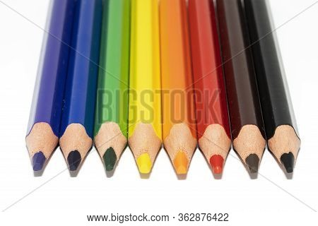 Closup View Of Colored Pencil On White Background