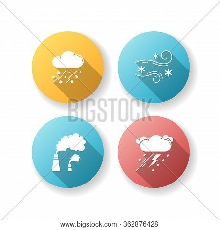 Bad Weather Forecast Flat Design Long Shadow Glyph Icons Set. Meteorology, Atmosphere Condition Pred