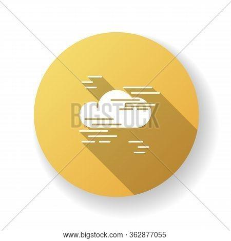 Fog Yellow Flat Design Long Shadow Glyph Icon. Foggy Weather, Meteorological Forecast. Atmosphere Hu