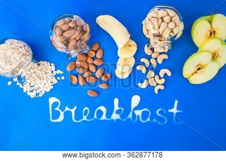 Inscription Breakfast Made By Milk With Ingredients For Healthy Breakfast, Oatmeal, Banana, Apple Fr