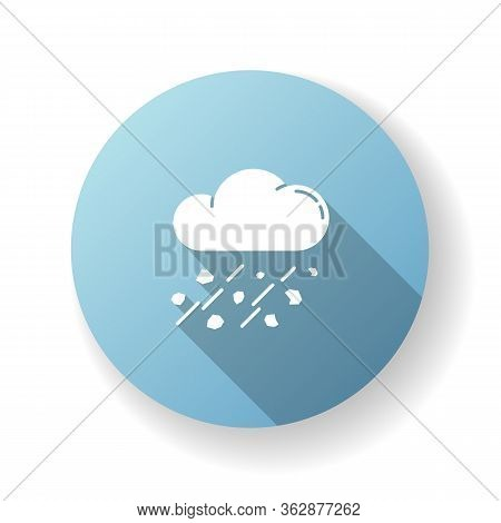 Mixed Rain Blue Flat Design Long Shadow Glyph Icon. Hailstorm, Meteorology. Bad Weather Forecast, St