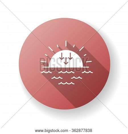 Sunset Red Flat Design Long Shadow Glyph Icon. Evening, Sundown, Weather Forecasting. Sea, Ocean At