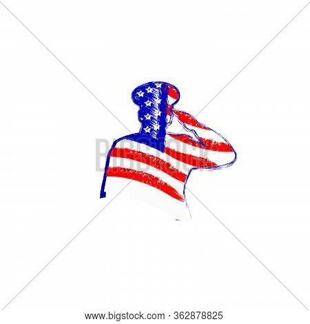 Flag American Inside Army Salute . Veterans Day 11th November With General Army Silhouette