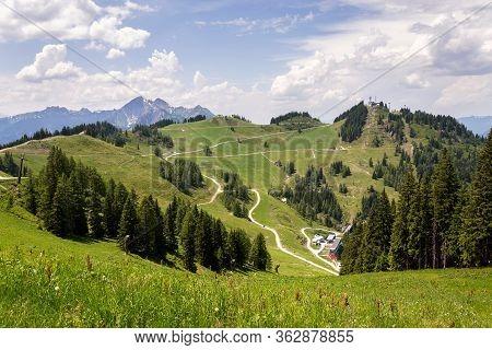 Cable Car Gondola On Top Of The Gernkogel Mountain From Sonntagskogel In Alps, Sankt Johann Im Ponga
