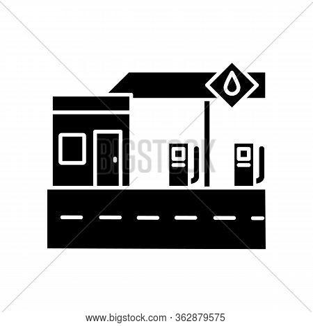 Gas Station Black Glyph Icon. Petrol Pump For Auto Refill. Gasoline Fill For Cars Service. Contempor