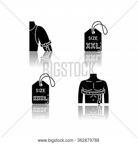 Male Size Labels And Measurements Drop Shadow Black Glyph Icons Set. Extra Large Size Tags, Man Ches