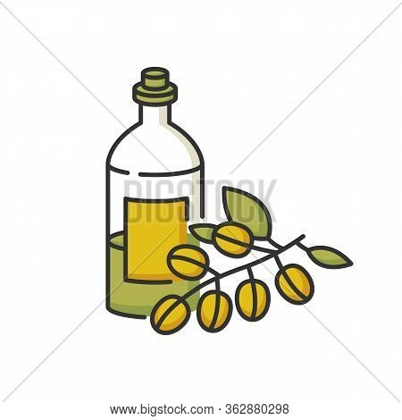 Jojoba Oil Rgb Color Icon. Organic Extract From Raw Nuts. Liquid Product In Jar Container For Hairca