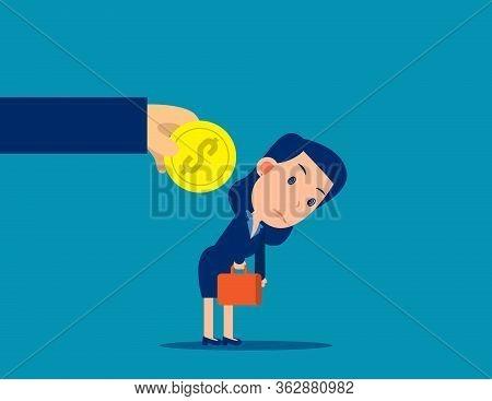 Encouragement For Employee. Work Exchange Money Concept. Human Salary
