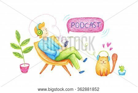 Podcast Concept Illustration. Webinar, Online Training, Tutorial Podcast Concept. Young Man Listenin