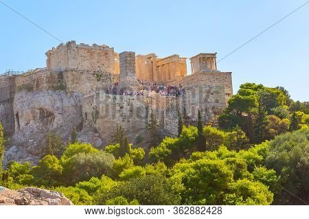 Athens, Greece Landscape With Acropolis View Against Blue Sky