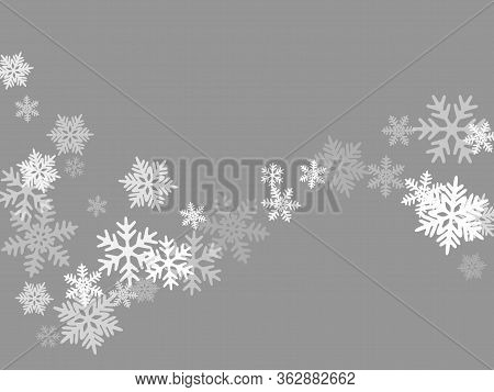 Snow Flakes Falling Macro Vector Illustration, Christmas Snowflakes Confetti Falling Scatter Backdro