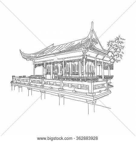 Shanghai Famous Landmark During Quarantine, Sketch. Cancellation Noisy Celebrations And Mass Celebra