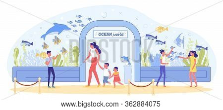 Children And Adult Watch Underwater Sea Fish Variety At Aquarium Excursion. Mother With Child, Kid F