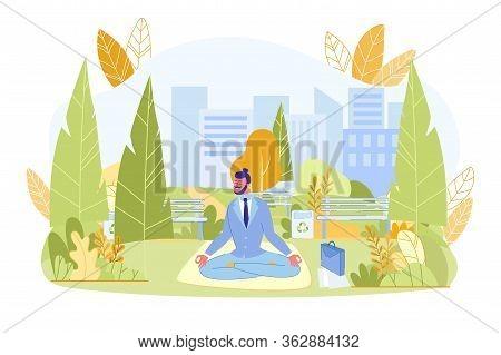 Young Businessman Meditating In Green City Park. Man Office Worker In Formal Wear Doing Breathing Yo