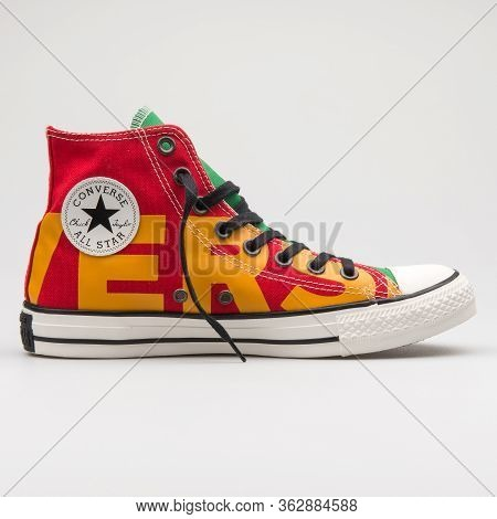 Vienna, Austria - January 12, 2018: Converse Chuck Taylor All Star High Red, Yellow And Green Sneake