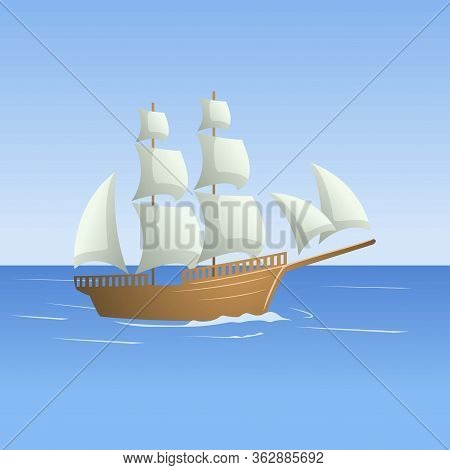 Illustration Of Sailboat In The Sea